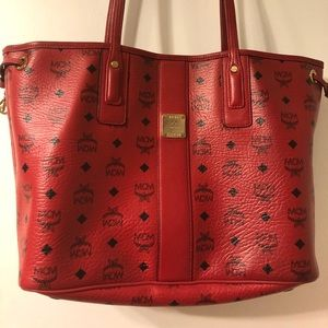 Authentic MCM red reversible tote only.